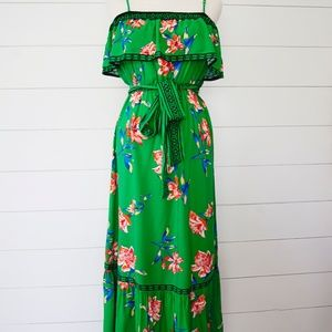 Anthropologie Green Floral Maxi Dress M Boho